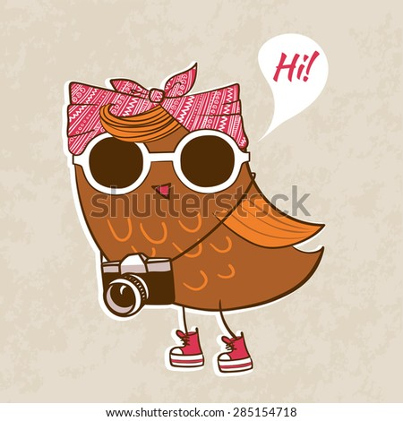 Trendy owl in a sunglasses with fashionable hairstyle. Vector illustration. - stock vector