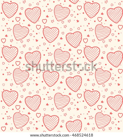 trendy pattern of hearts on a light background