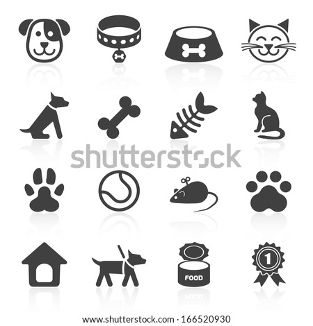 Trendy pet icons isolated on white. Vector elements - stock vector
