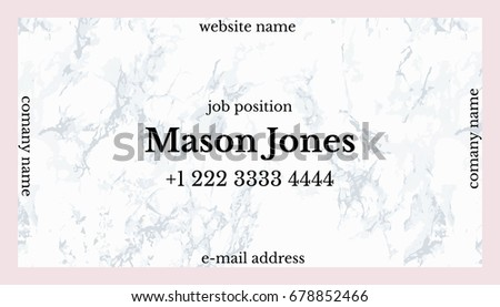 Trendy pink gray marble business card stock vector 2018 678852466 business card template us standard size 35x2 in colourmoves