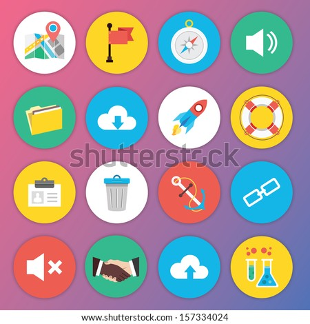Trendy Premium Flat Icons for Web and Mobile Applications Set 6 - stock vector