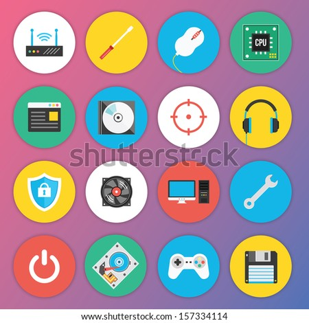 Trendy Premium Flat Icons for Web and Mobile Applications Set 7. Special Hardware Set. - stock vector