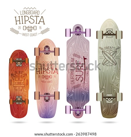 Trendy print on a longboard in thin line style on a blurred  background