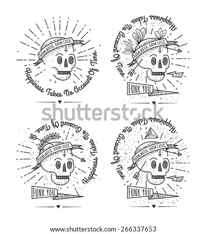 Trendy Retro Vintage Insignia - Badges vector set with the skull.