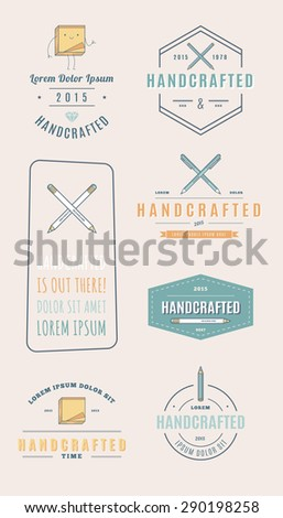 Trendy Retro Vintage Insignias and Logo. handcrafted.  - stock vector