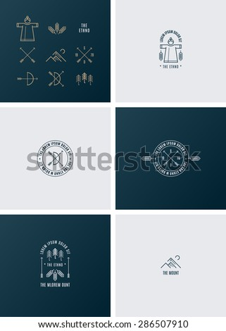 Trendy Retro Vintage Insignias and Logo. The ethno style.
