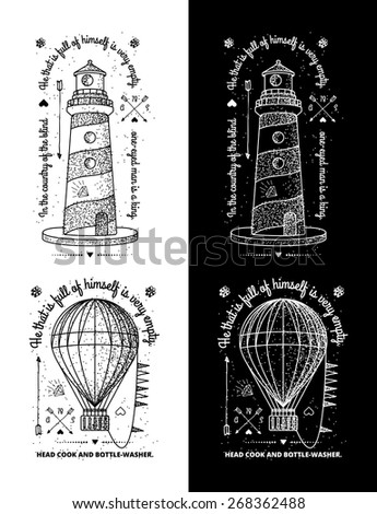 Trendy Retro Vintage Insignias - Badges vector set with the lighthouse. - stock vector