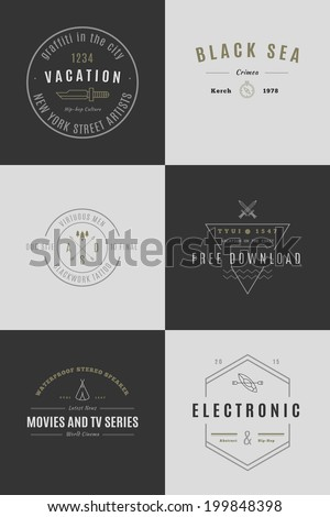 Trendy Retro Vintage Insignias Bundle - stock vector