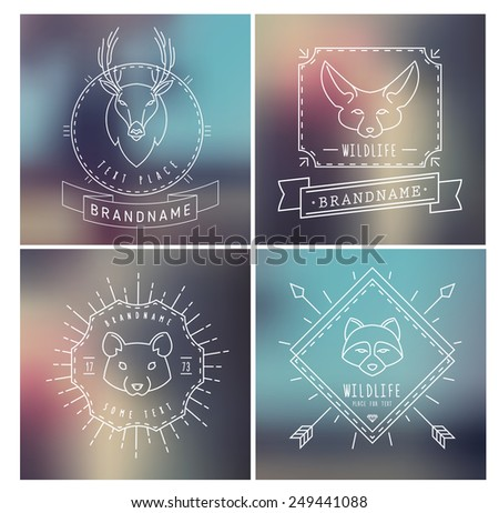 Trendy Retro Vintage Insignias Bundle. Animals. Hamster, deer, raccoon, fox. Vector set of outline emblems and badges - abstract hipster logo templates - stock vector