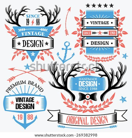 Trendy ribbon banners and badges set. Creative design elements, logo design templates. High quality vector illustration. American style concept. Red,blue,white,black colors.Isolated on grey background - stock vector