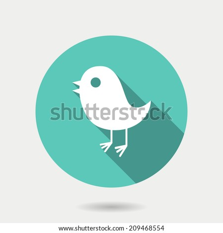 Trendy round bird icon, social media web or internet icon with long shadow, twitter vector design - stock vector