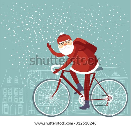 Trendy Santa Claus riding his bicycle vector - stock vector