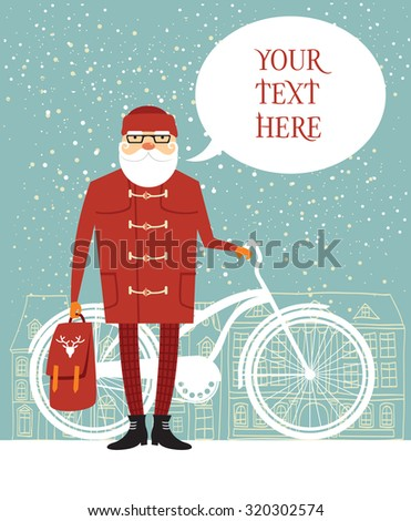 Trendy Santa with his bike and bubble for your text - stock vector