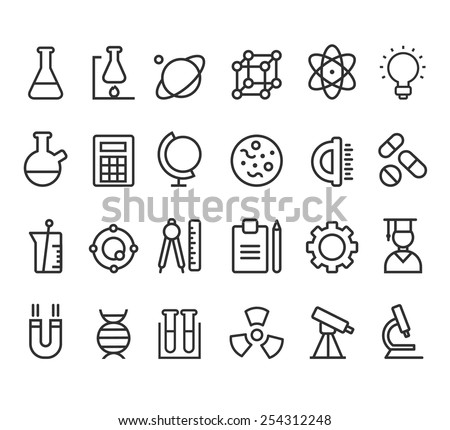 Trendy science icons on white. Vector elements modern style - stock vector