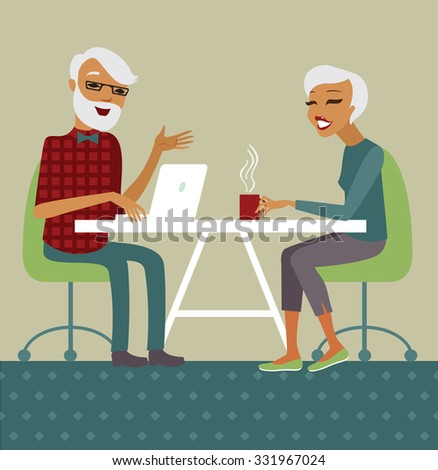 Trendy senior couple using laptop drinking tea  - stock vector
