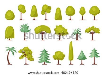 Trendy Set of different trees and bushes. Flat forest elements. Tree map  icon set. Vector illustration - stock vector