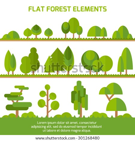 Trendy Set of different trees, bushes , grass and other natural objects. Sprites for the game. Vector flat illustration - stock vector