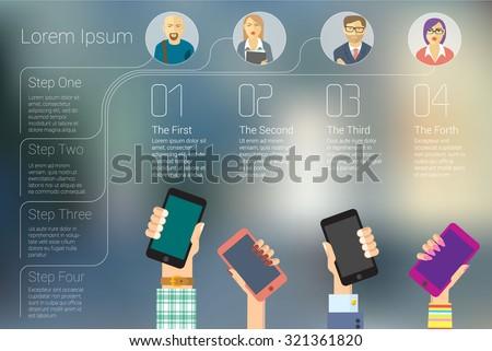 Trendy social media mobile network infographic vector concept. - stock vector