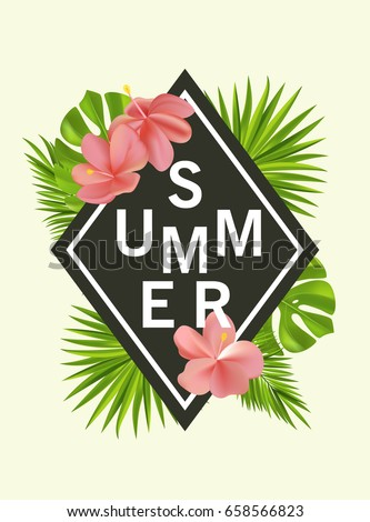 Trendy summer card, banner, poster with tropical flowers, plants and leaves . Vector illustration
