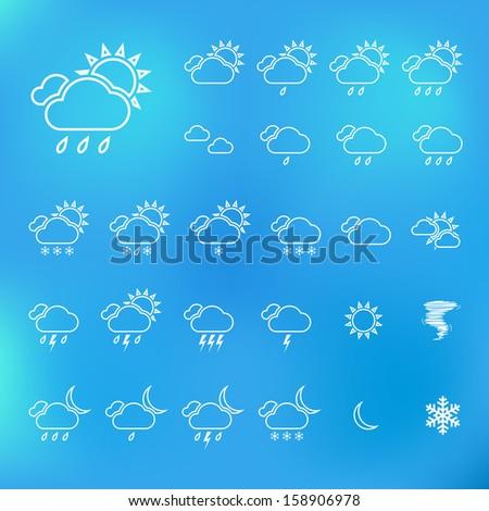 Trendy Thin Weather Icon Set. Vector - stock vector