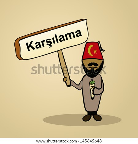 Trendy turkish man says welcome holding a wooden sign sketch. Vector file illustration layered for easy editing. - stock vector