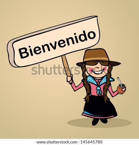 Trendy uruguiayan woman says welcome holding a wooden sign sketch. Vector file illustration layered for easy editing. - stock vector
