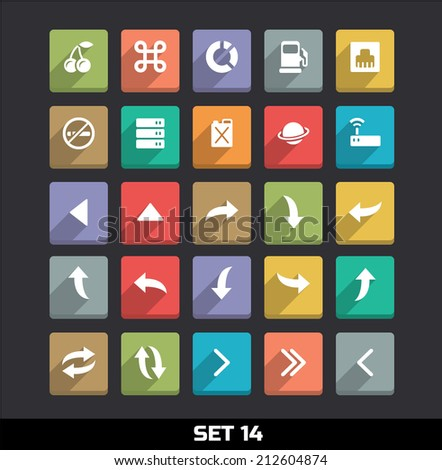 Trendy Vector Icons With Long Shadow Set 14