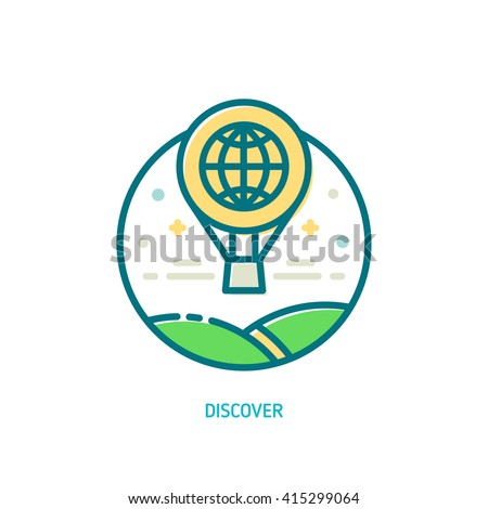 Trendy vector line discover icon. Explore icon. Illustration of balloon flight above the green landscape - stock vector
