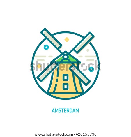 Trendy vector line windmill icon. Amsterdam, Netherlands - stock vector