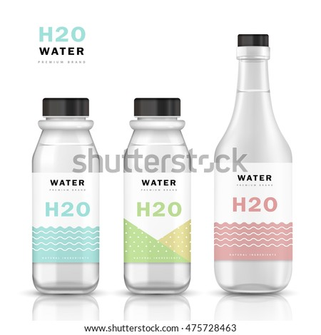 Trendy Water Bottle Template Mockup Template Stock Vector ...