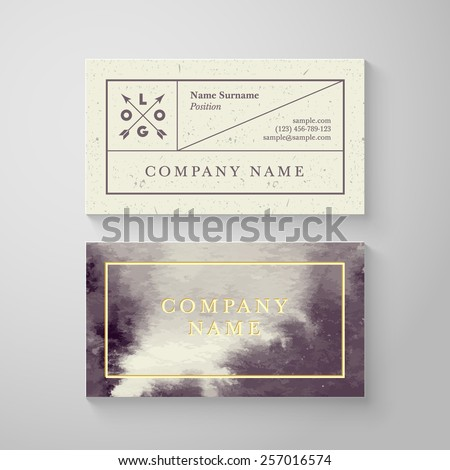 Trendy watercolor cross processing business card template. High quality design element - stock vector