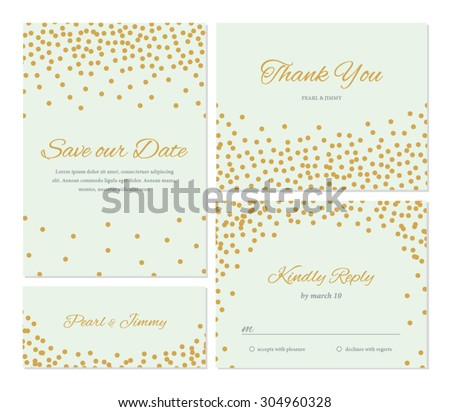Trendy Wedding Invitation Set Confetti Illustration Stock Vector