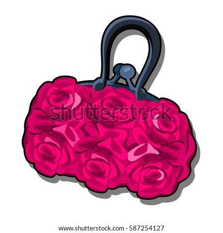 Trendy women's handbag with fabric texture of pink rosebuds isolated on white background. Ideas of floral design of ladies handbags. Vector cartoon close-up illustration.