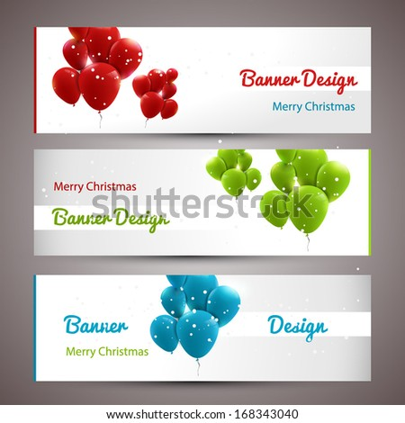 Trendy xmas banners with baloons - stock vector