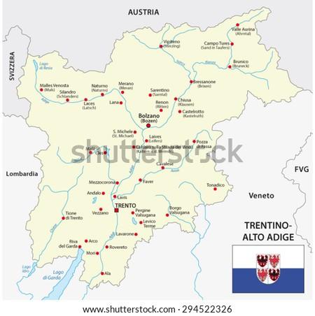 Trentino Alto Adige Map Flag Stock Vector 294522326 Shutterstock