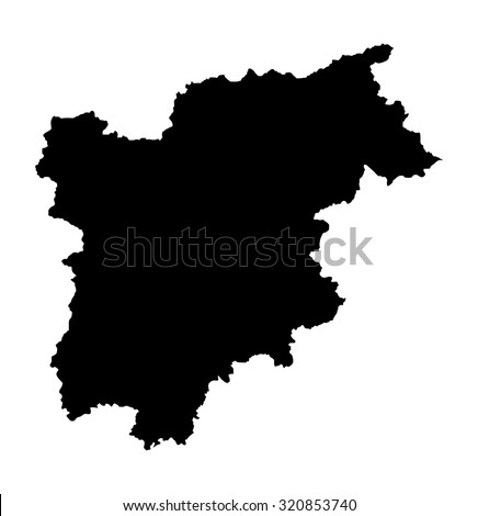 Trentinoalto Adige Vector Mapitaly Silhouette Illustration Stock