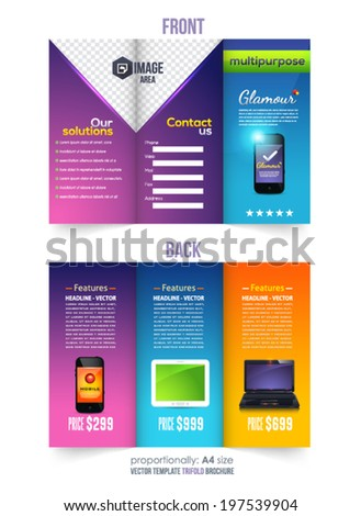 Tri-fold Brochure and Catalog Vector Design Template - stock vector