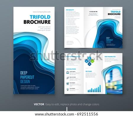 Tri fold brochure design blue dl stock vector 692511556 for Dl brochure template