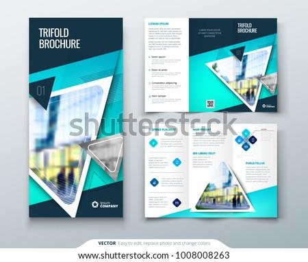 Tri Fold Brochure Design Blue Template Stock Photo Photo Vector