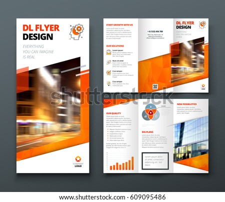 Tri Fold Brochure Design Orange Dl Stock Vector - Tri fold brochure design templates