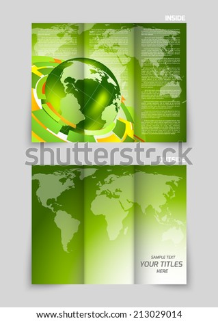 Tri-fold brochure design with globe and maps in green color