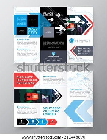 Tri fold Brochure Flyer design layout vector template in A4 size - stock vector