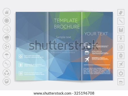 Tri-Fold Brochure mock up vector design. Smooth unfocused bokeh background. Corporate Business Style - stock vector