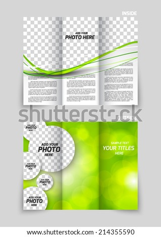 Tri-fold brochure template design with circles in green color - stock vector