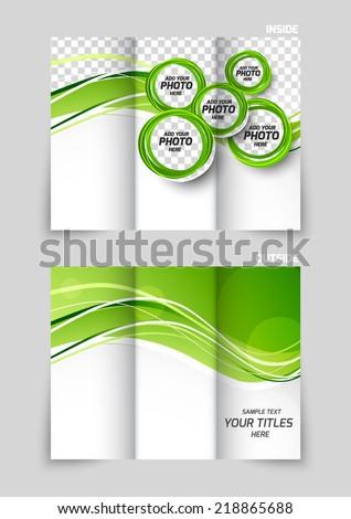 Tri-fold brochure template design with green wavy design - stock vector