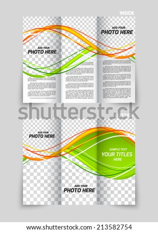 Tri-fold brochure template design with orange and green waves - stock vector