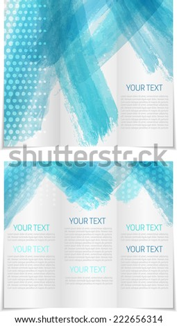 Tri fold brochure template with blue brushed design - stock vector