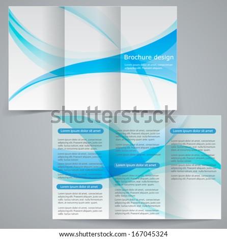 Tri-fold business brochure template, vector blue design flyer - stock vector