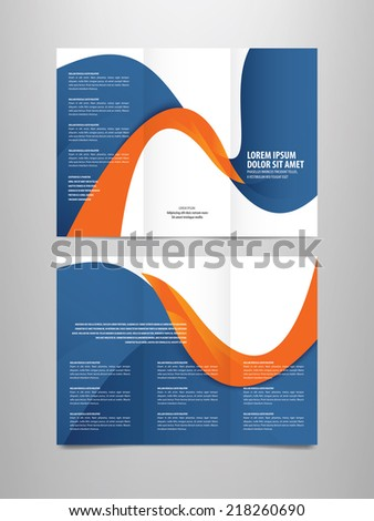 tri fold business brochure vector template - stock vector