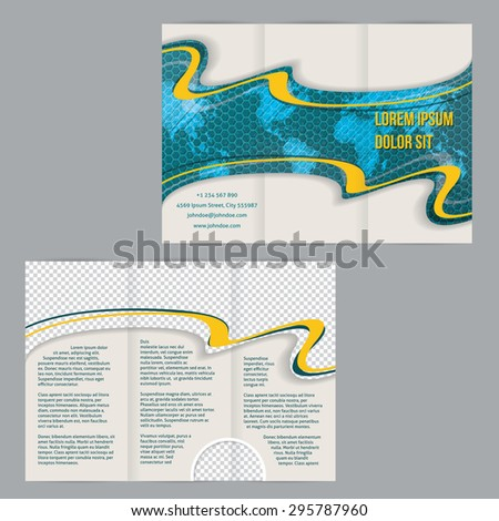 Tri-fold flyer brochure template design with scribbled world map orange waves and photo container - stock vector
